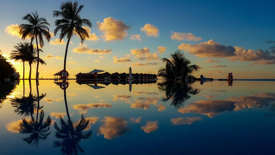 Evening sunset view of Maldives resort