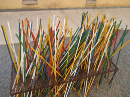 A mix of color sticks placed by many people as a symbol of equality