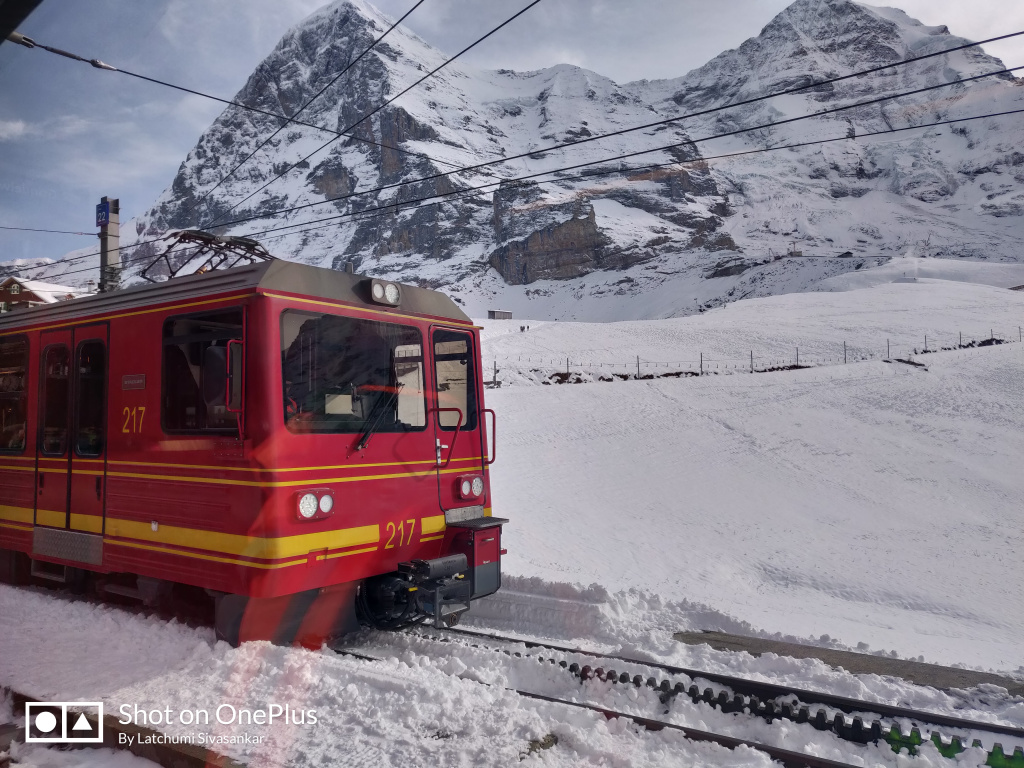 A picture of beautiful train journey in Switzerland on their honeymoon trip to Europe