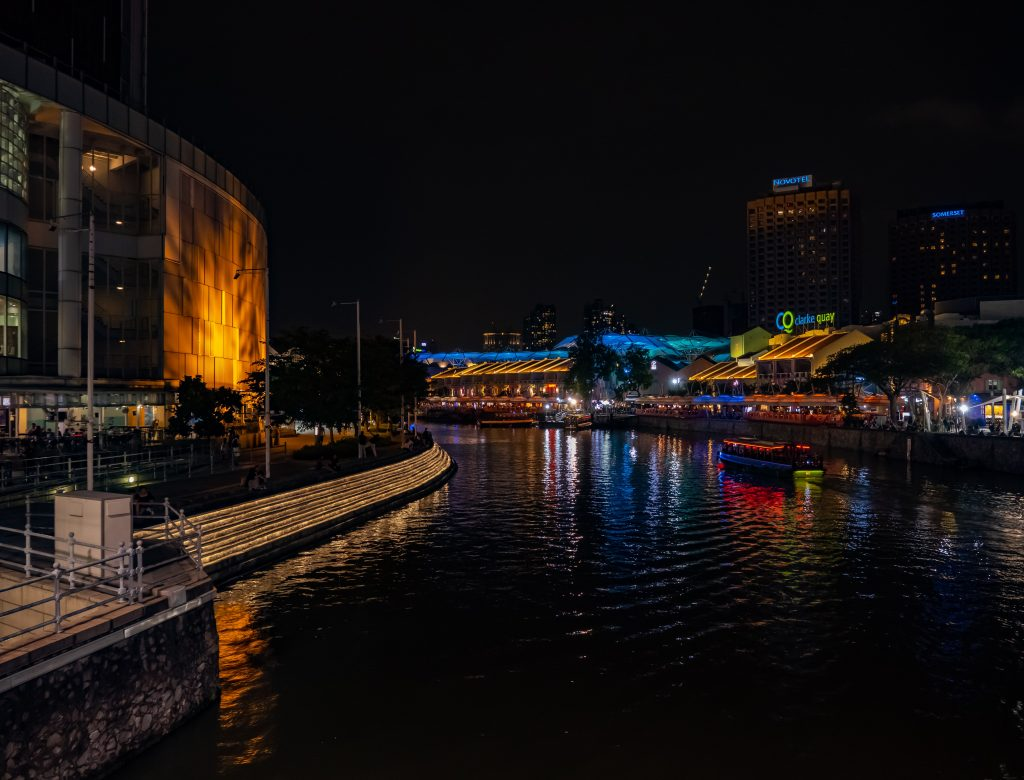 Lit up Clarke Quay during night