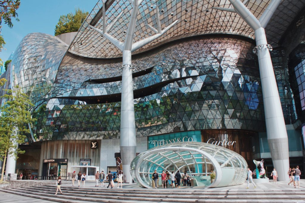 A megamall for shopping at the Orchard Road in Singapore