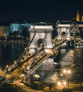 Amazing night view of Budapest in lights