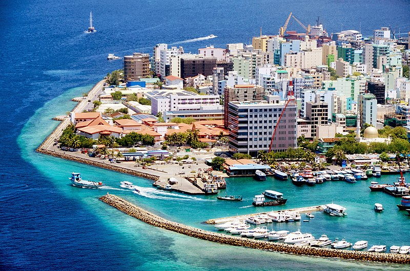An aerial view of Male City