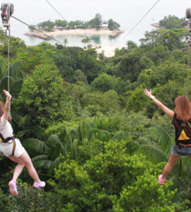 Zip lining in the mega adventure park