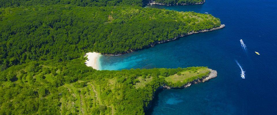 Nusa Penida beach drone view