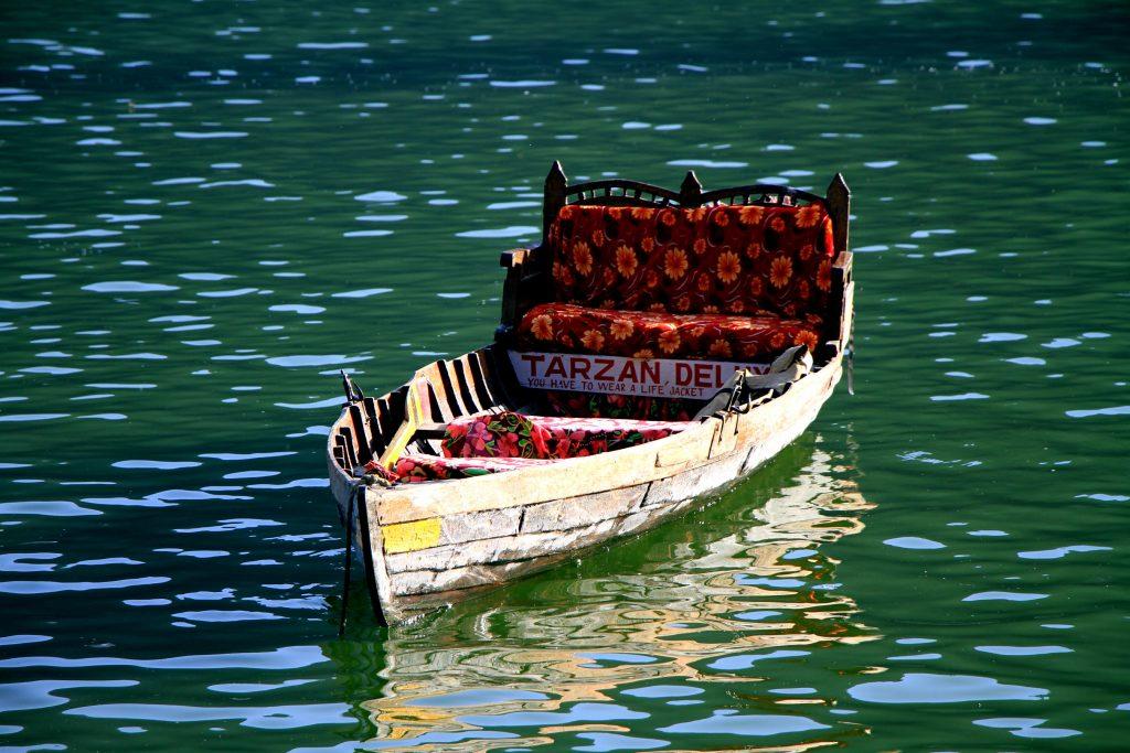 A view of boat in Nainital lake, India