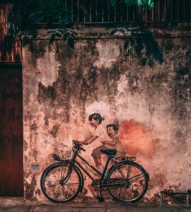 "A well-known mural of ""Children on a bicycle"", Penang,"