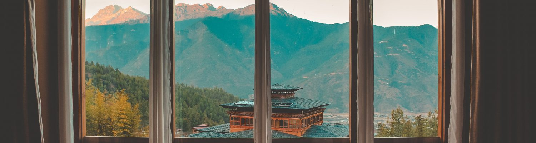 Mountain views from window Bhutan
