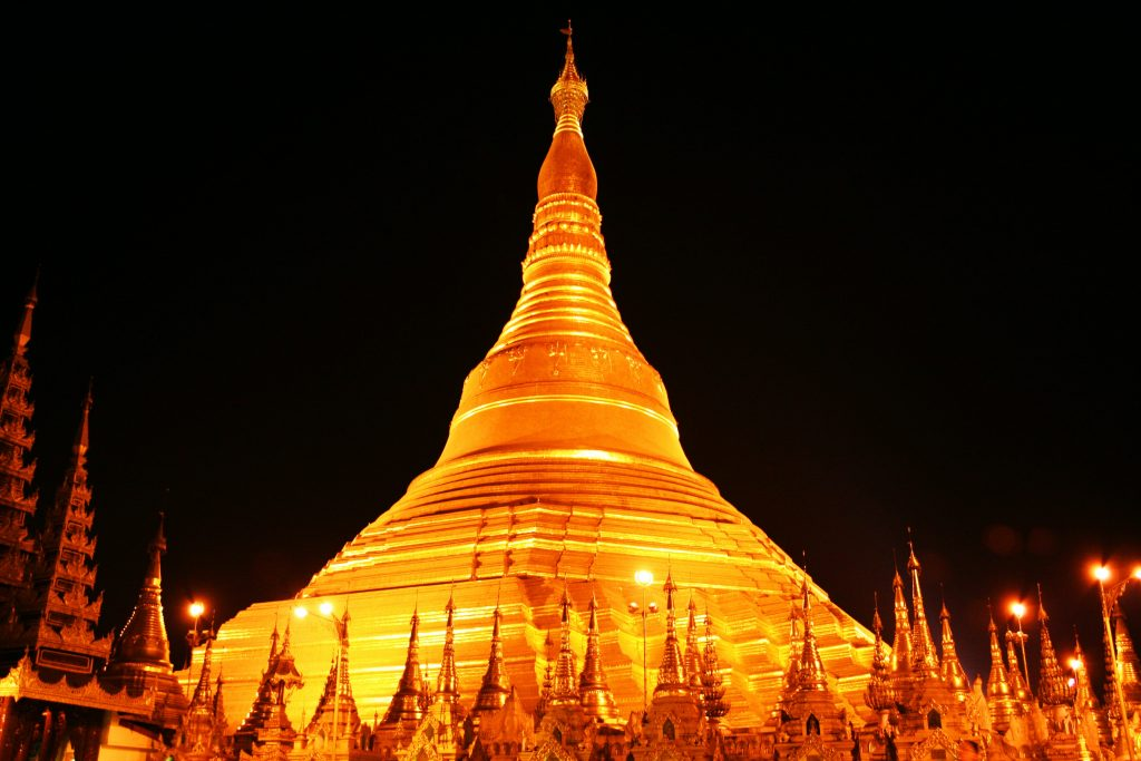 The Magical view of the Shwedagon Pagoda temple, Yangon