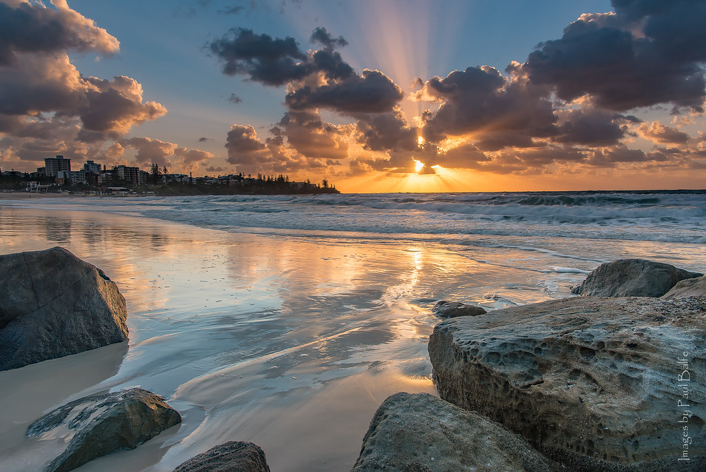 Sun rising over the Caloundra beach
