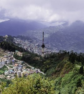 Gangtok city drone view