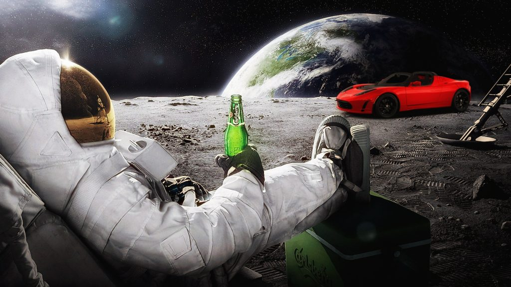 An astronaut chilling with a beer on the Moon