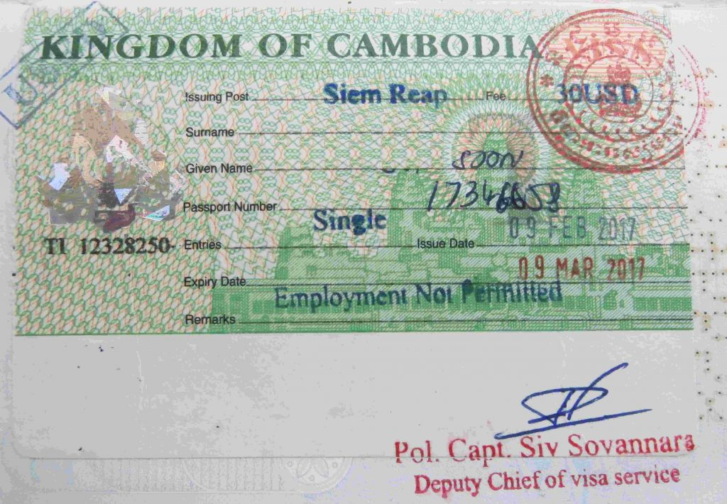 A picture of Cambodian visa for COVID-19 travel