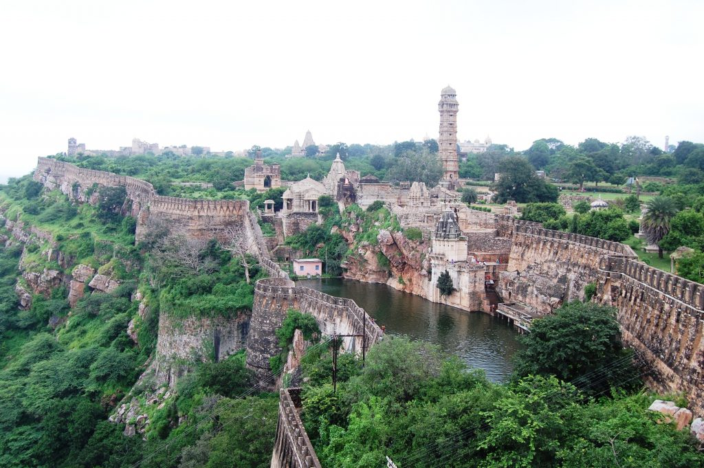 The panoramic view of the Chittor fort