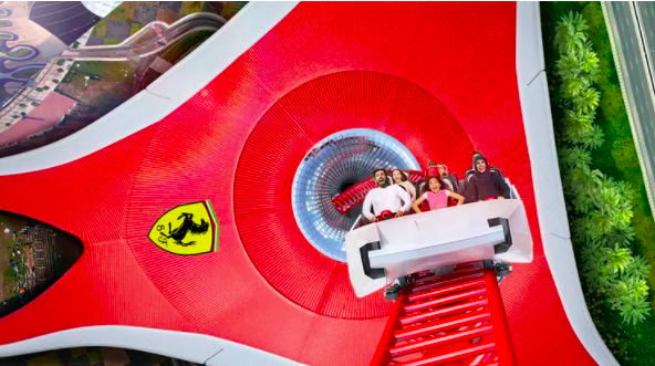 A view of Rollercoaster ride in Ferrari world