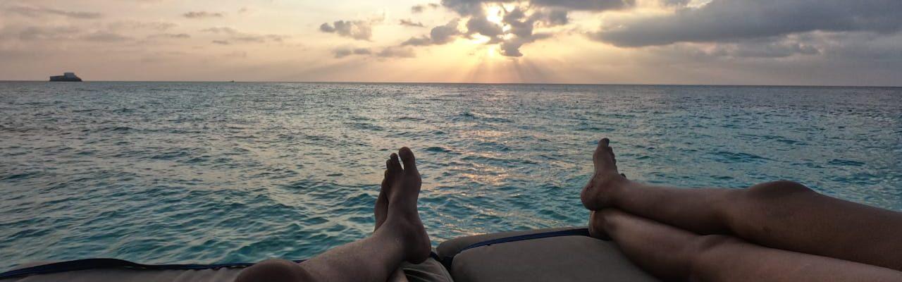 enjoying sunrise at beach