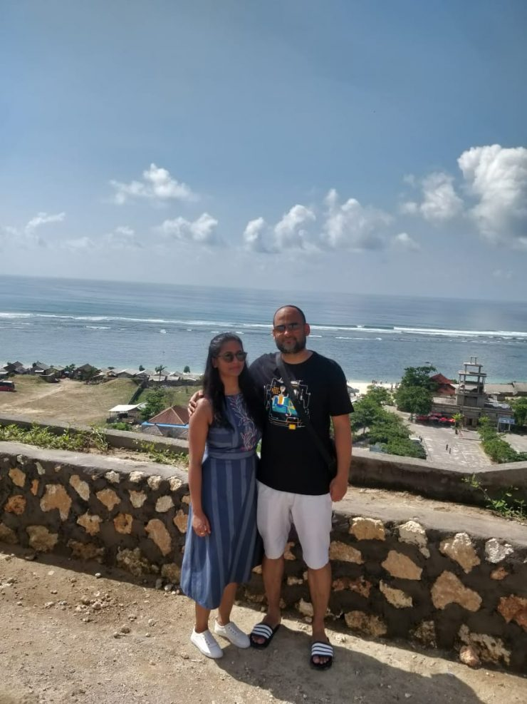 A couple posing for a picture at Bali
