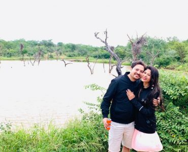 A beautiful couple posing at the Kruger National Park in South Africa