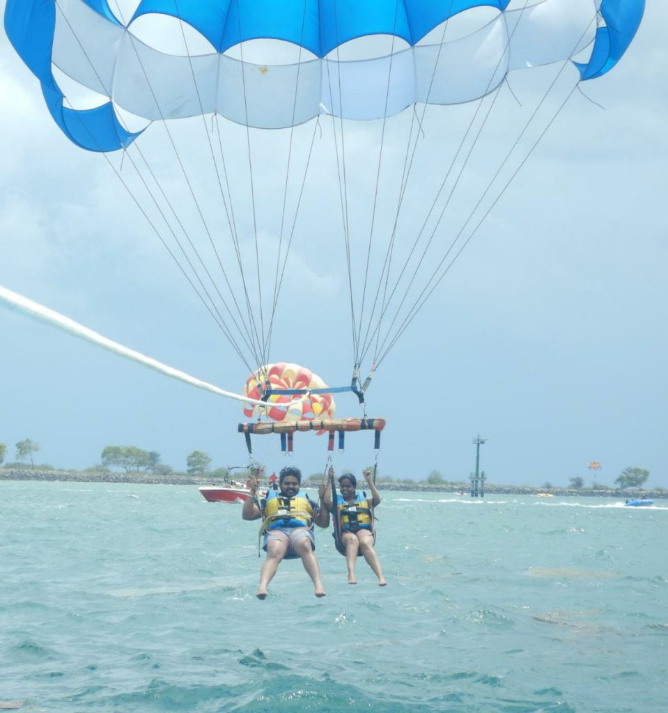 The thrilling parasailing activity