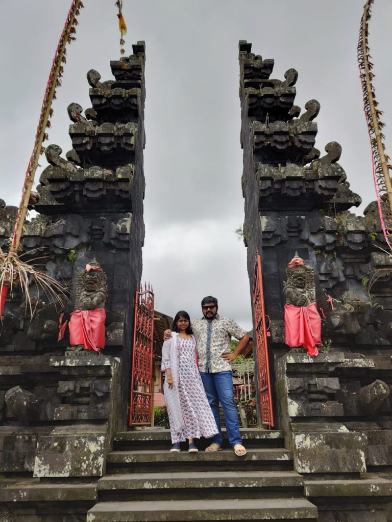 at the gateway of heaven during our trip to Bali