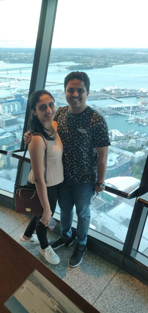 At the top of sky tower during our honeymoon trip to New Zealand
