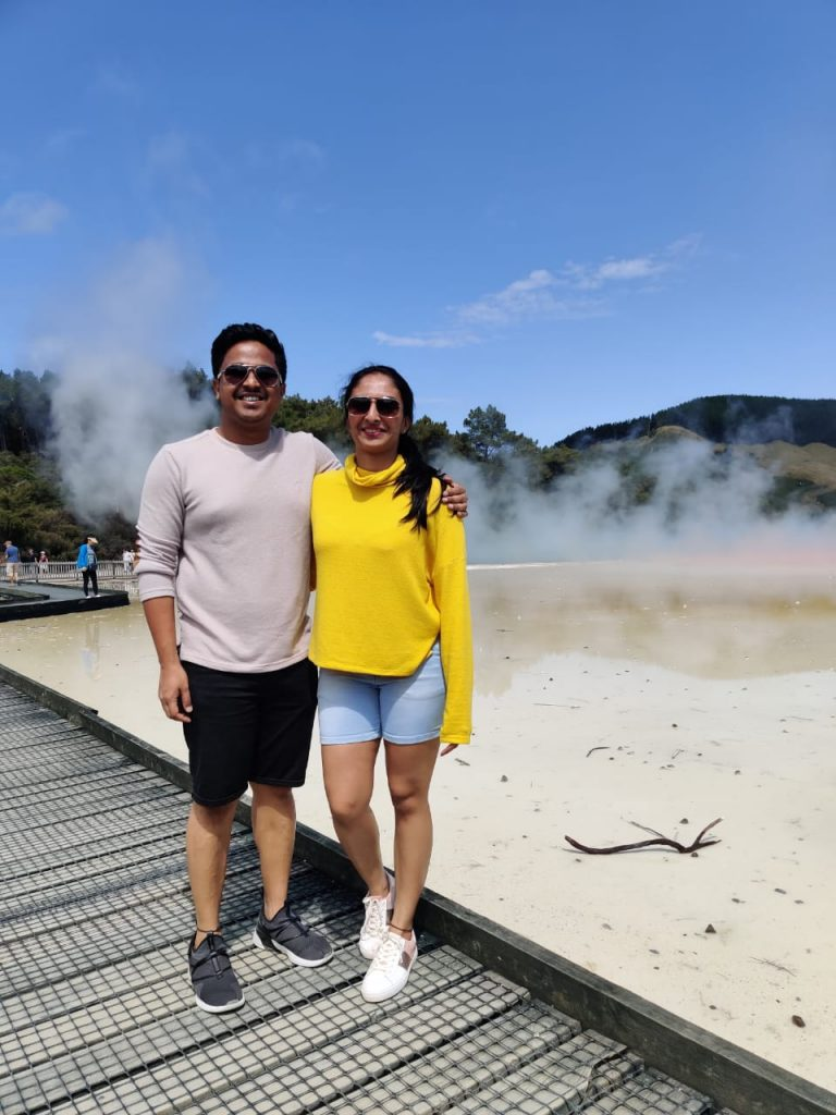 In the thermal wonderland during our honeymoon trip to New Zealand