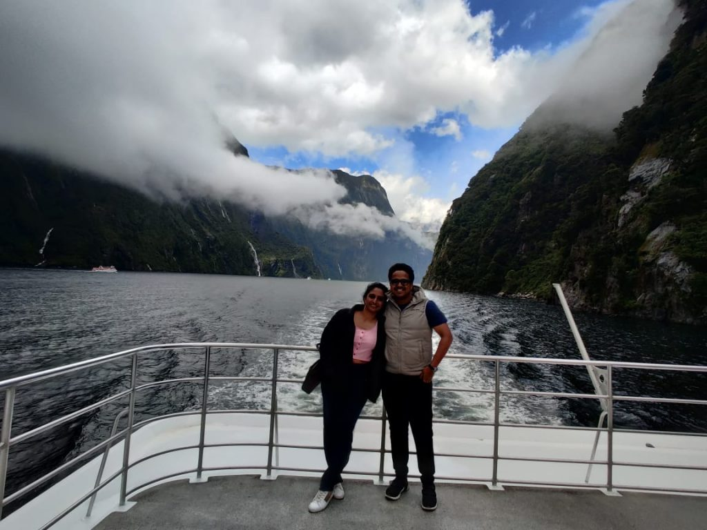 at the beautiful views of Milford sound