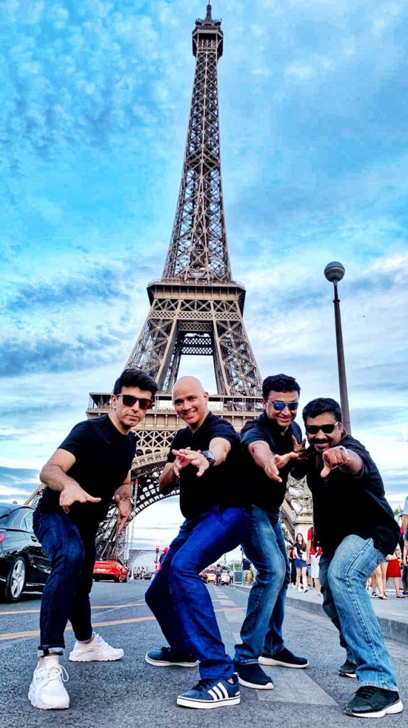 A picture of four boys in Paris in Europe