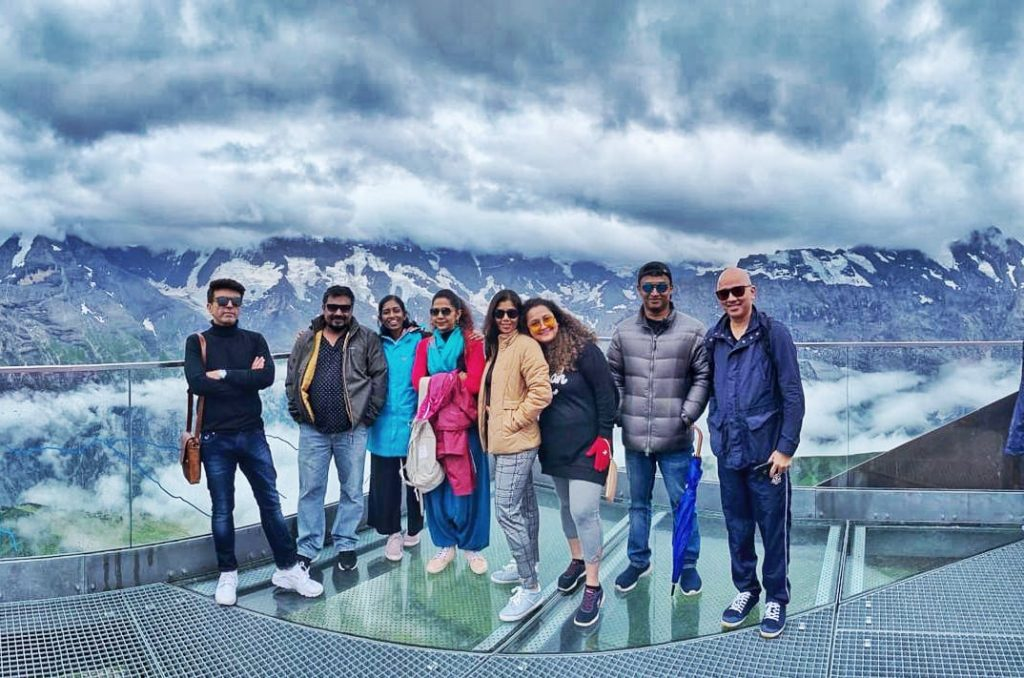 A group of friends in Switzerland