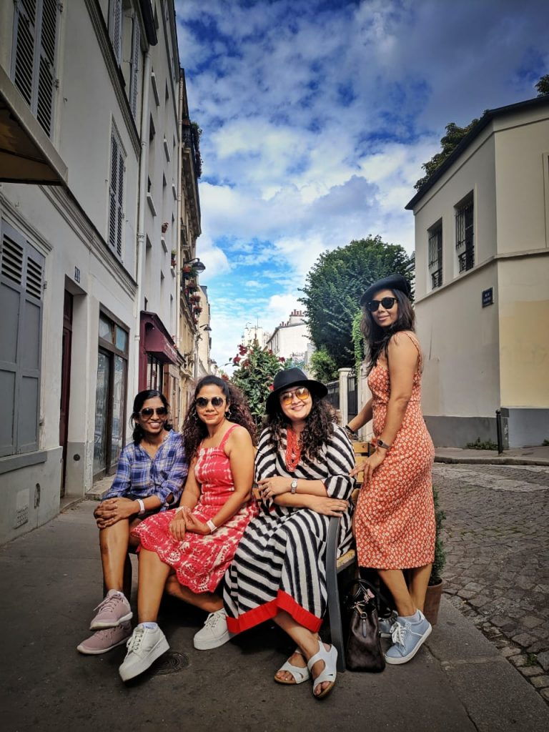A picture of four girls on their trip to Europe