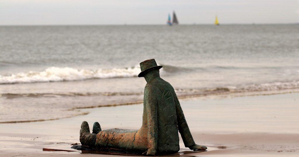 The Man on the beach Knokke statue, Belgium.