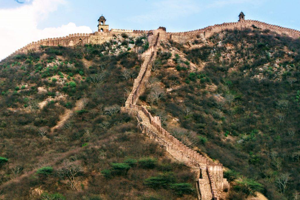 The wall of Amer, Jaipur, Rajasthan.