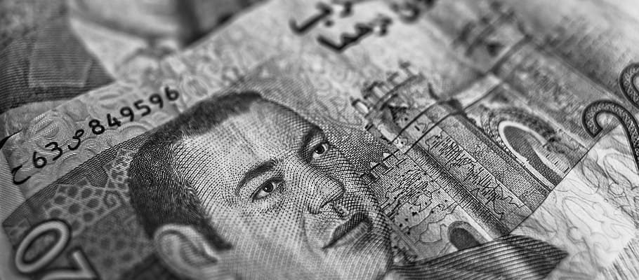 A picture of the Dirham notes, the currency of UAE