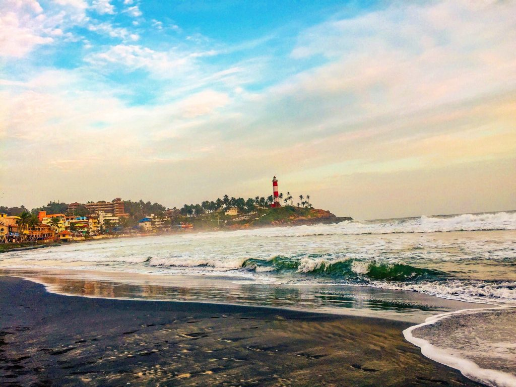Lighthouse Beach in Kovalam in Kerala