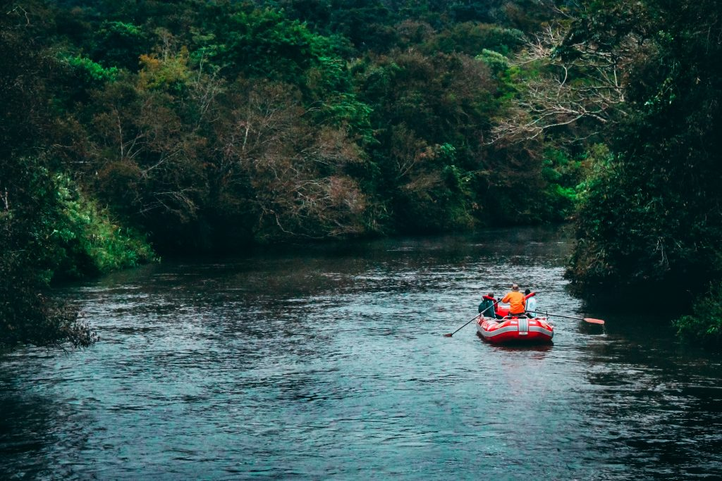 Rafting in river
