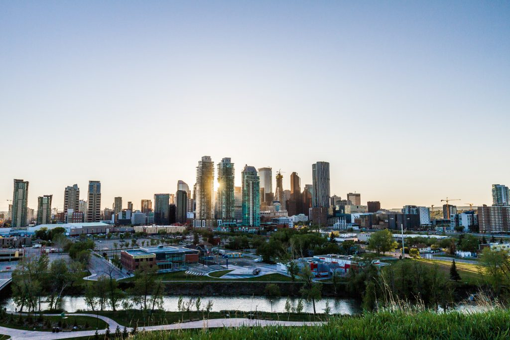 A picture of the tall standing buildings in Calgary in Canada
