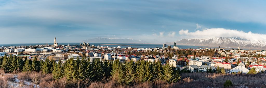 Panoramic view of Reykjavik in Iceland
