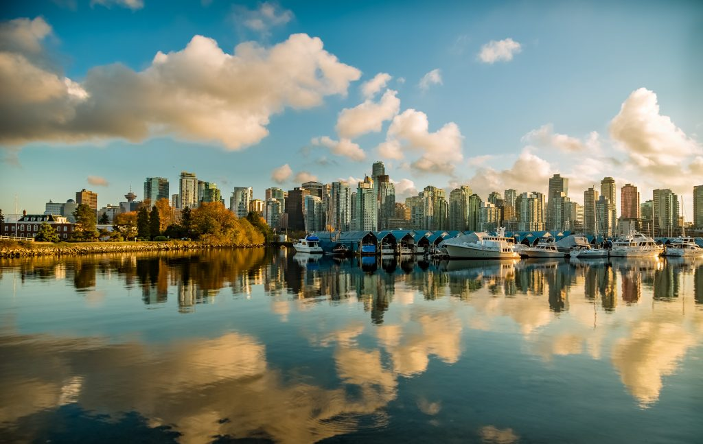 A picture of the city that was taken at the Stanley Park in Vancouver