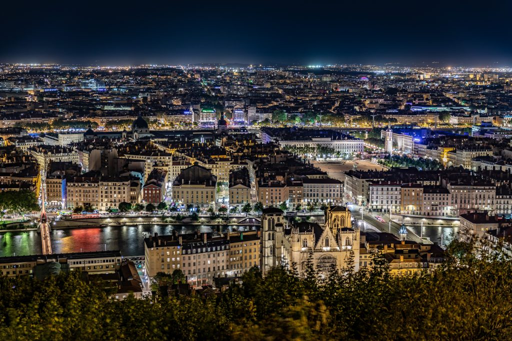 An image of the entire city of Lyon in lights