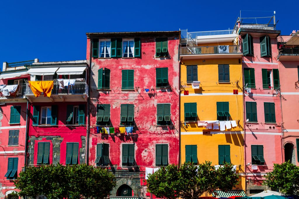 A view of the colourful buildings in Cinque Terre, Italy
