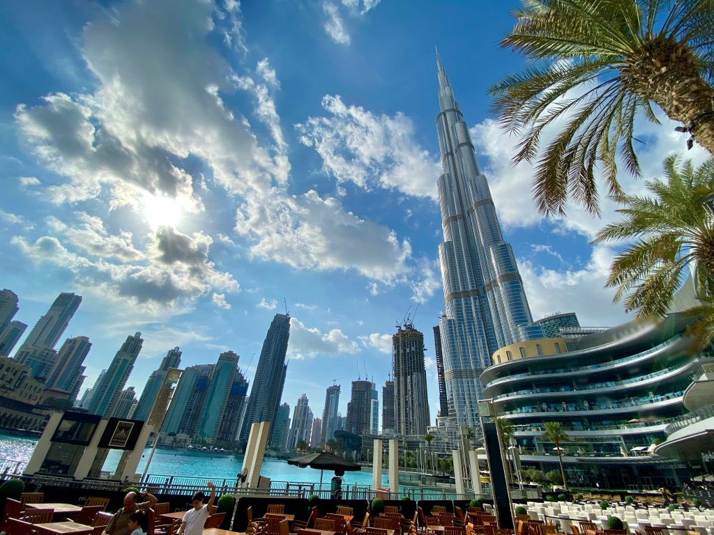An awesome view of the tall standing buildings in Dubai, UAE