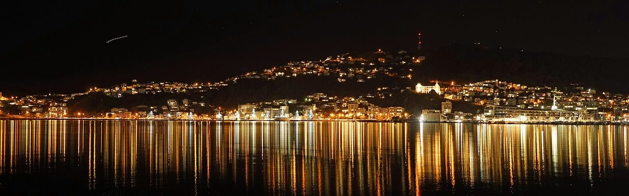 A beautiful picture of Wellington with lights