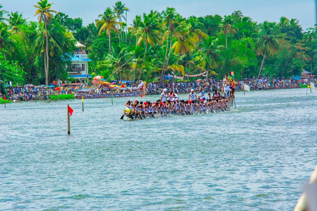 People enjoying the snake boat race