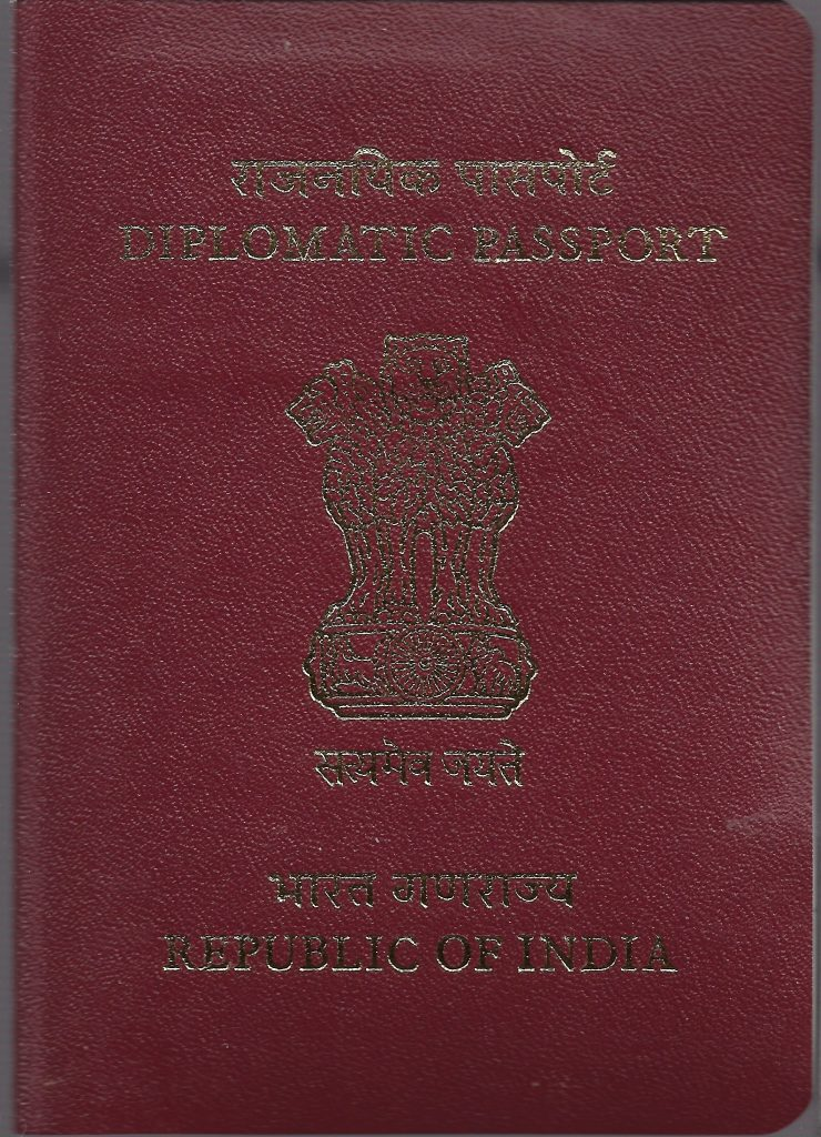 A picture of Diplomatic Indian passport