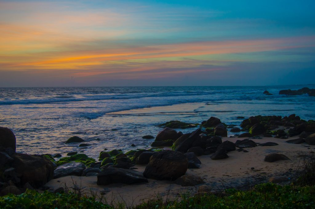 Sunset in a beach in Kovalam