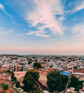 wide shot of the blue city of Jodhpur