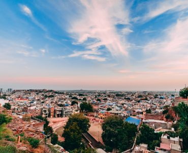 wide shot of the blue city of Jodhpur