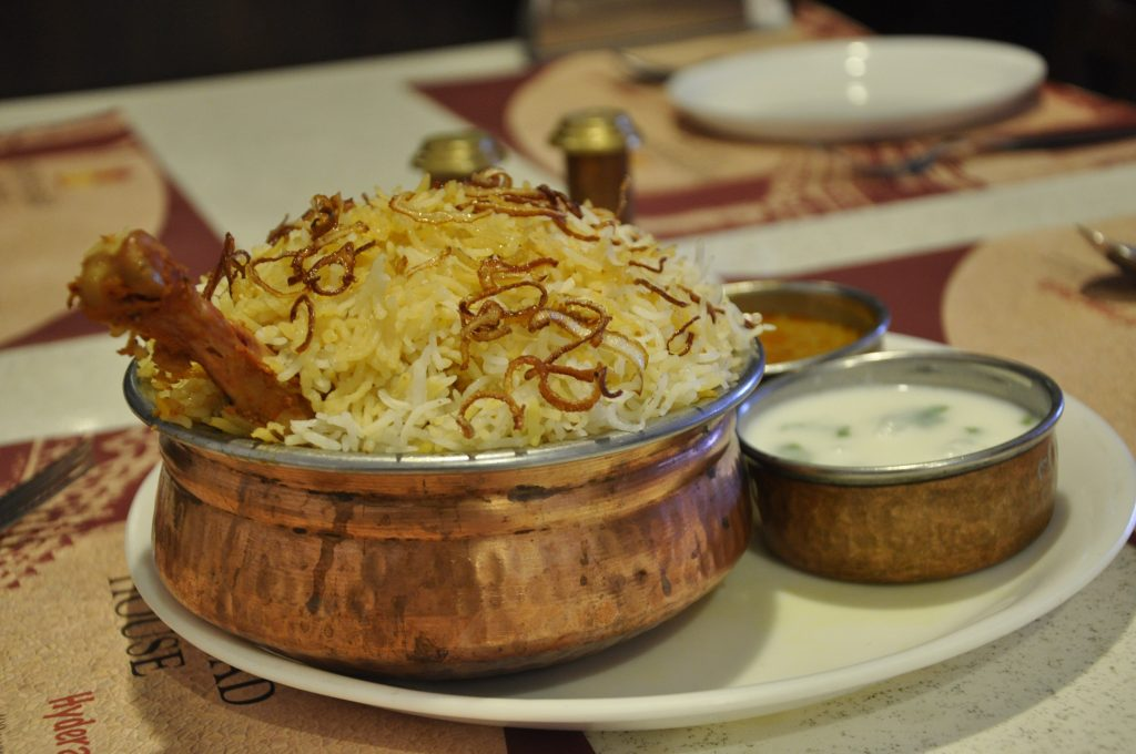 Chicken Biriyani in a restaurant