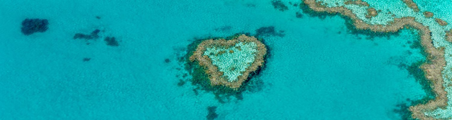 A heart-shaped structure in the middle of the beach in the Whitsunday Islands