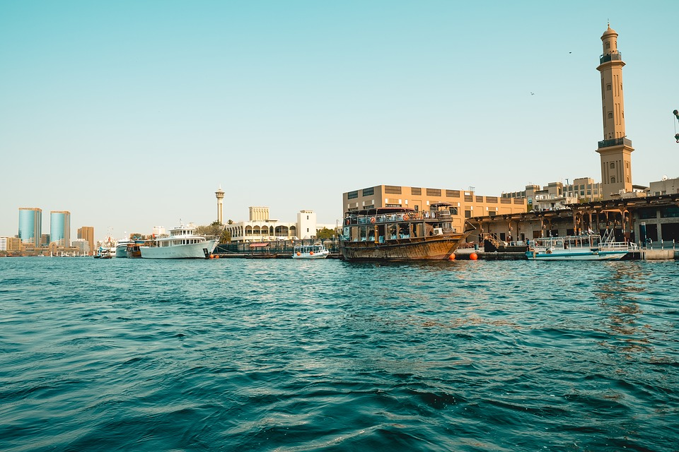 View of the Wooden Dhows at Dubai Wharfage